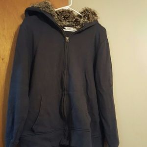 Blue hoodie with furry hood